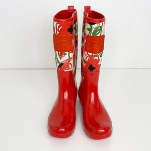 Coach Poppy Pearl Rubber Rain Boots Size 10